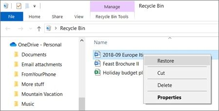 onedrive recycle-bin