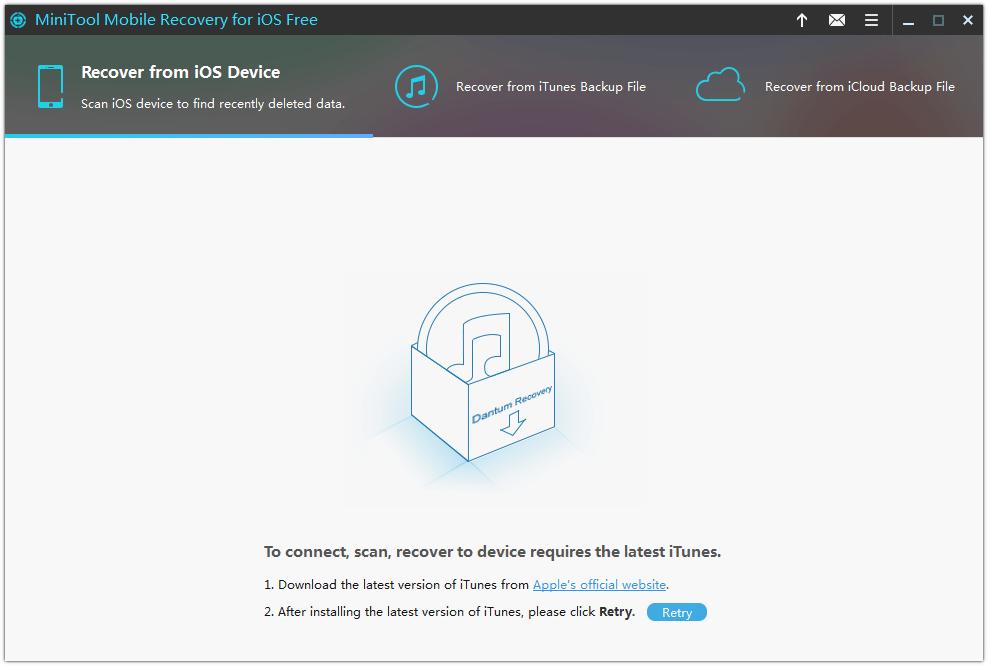 interfaz principal de MiniTool Mobile Recovery para iOS