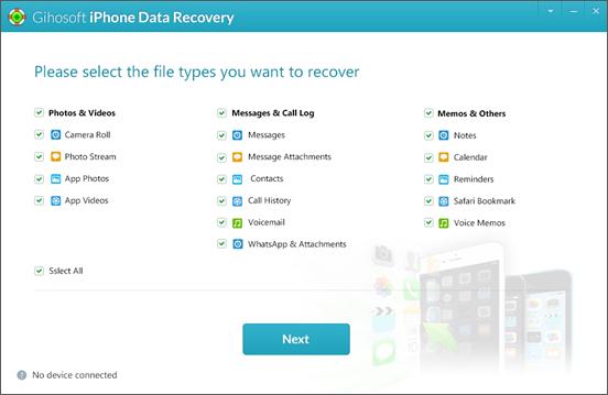 Gihosoft Free iPhone Data Recovery es el mejor y más confiable software gratuito de recuperación de iPhone.